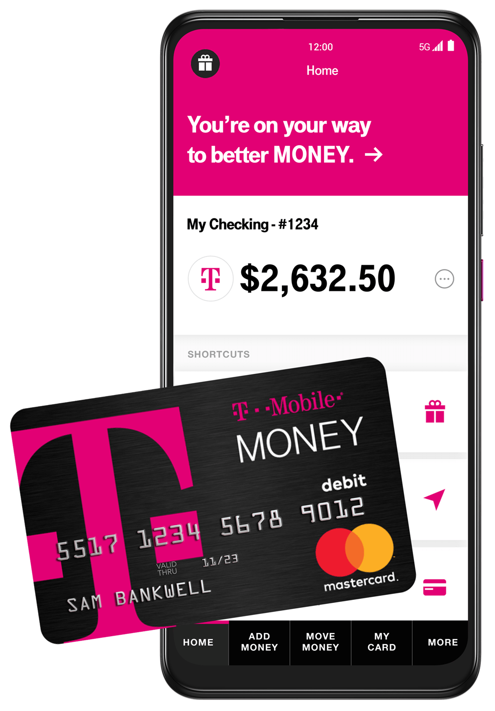 bank account app and debit card